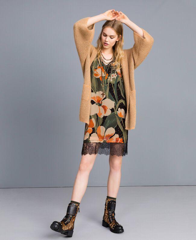 Printed georgette slip dress Maxi Black Tulip Print Woman TA828V-01