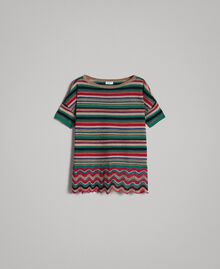 Maxi striped lurex jumper Multicolour Striping Woman 191ST3141-0S
