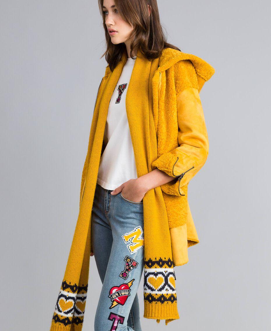 Écharpe jacquard cœurs Golden Yellow Femme RA8T2B-0S