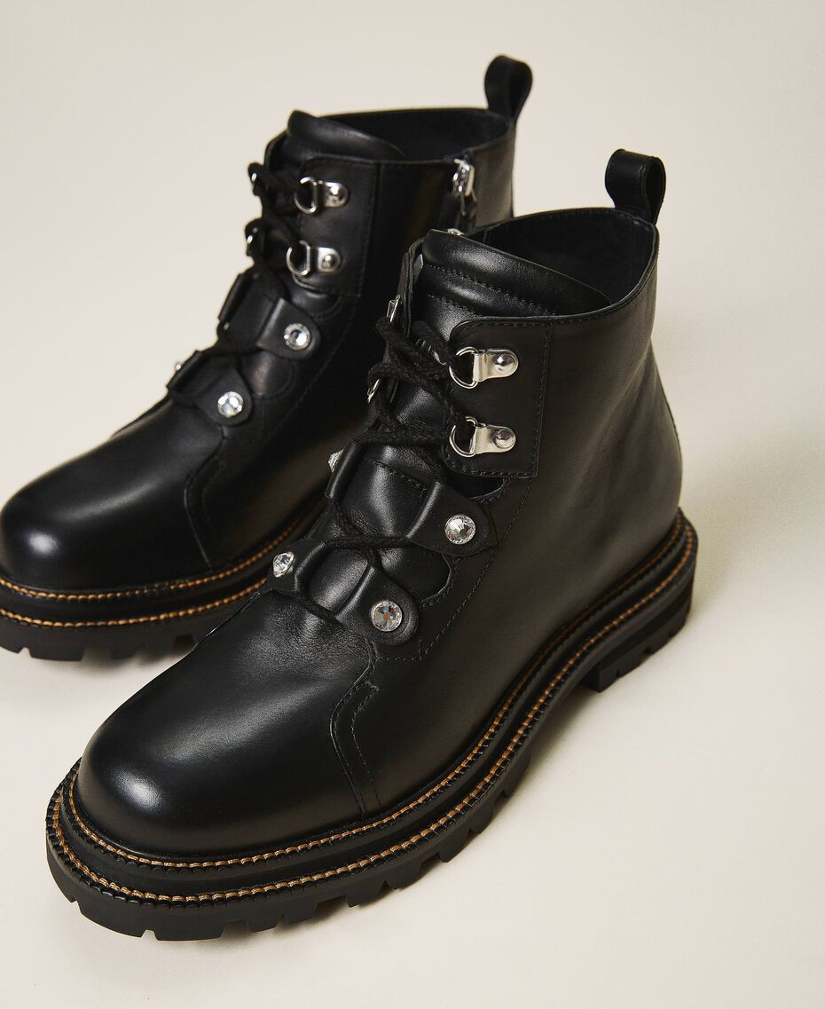 Leather combat boots with bezels Black Woman 202TCT120-01