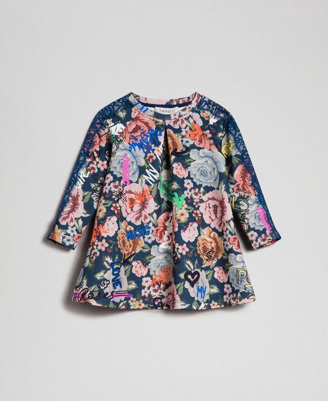 Scuba dress with floral and graffiti print Graffiti Print Child 192GB2491-01