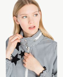 Parka étoiles Rayure Blanc Optique / Noir Femme JS82B2-04