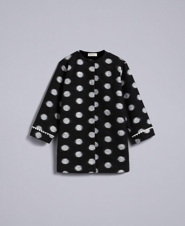 Manteau en drap à pois Imprimé Pois Noir / Blanc Cassé Enfant GA82CG-01