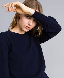 Pull boxy en laine et cachemire Bleu Nuit Femme TA83AD-04