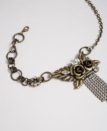 Choker with roses and rhinestone pendants Aged Brass Woman 192TO530J-02