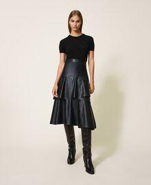 Трикотажная кофта в сеточку с кружевом Черный женщина 202TP3321-0T