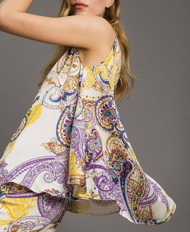 """Satin top with paisley pattern """"Milkyway"""" Beige / Paisley Print Woman 191LM2SFF-04"""