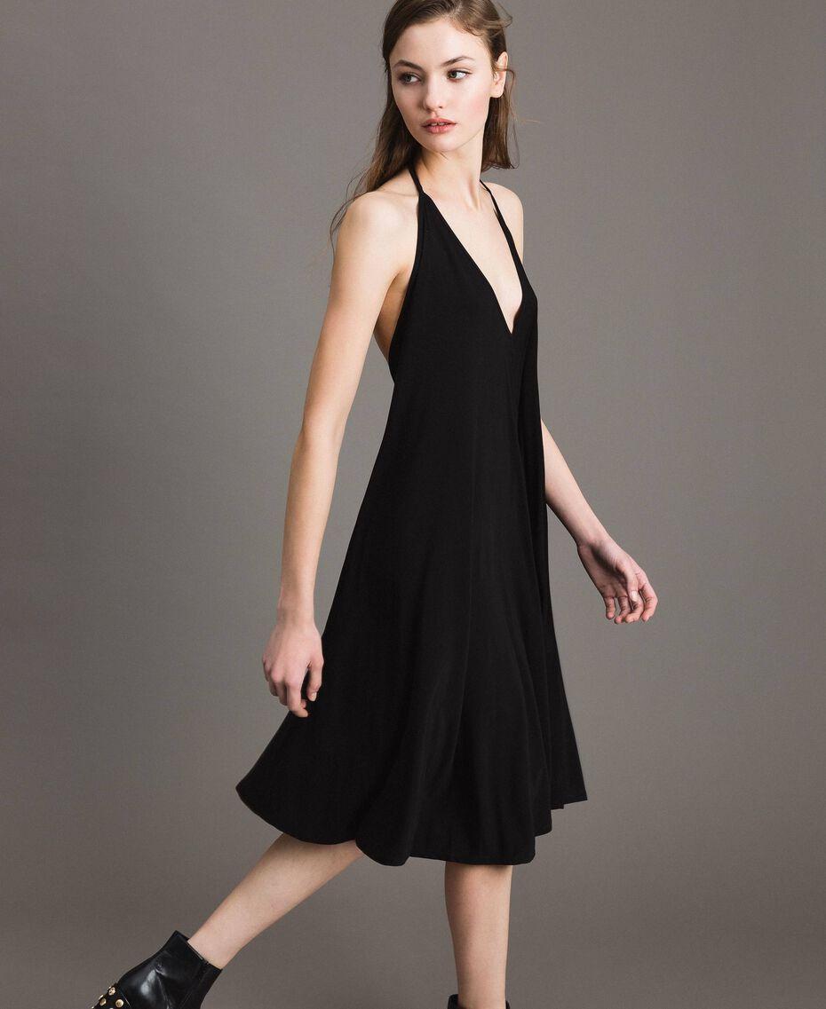Robe asymétrique en jersey crêpé Noir Femme 191LB22QQ-03