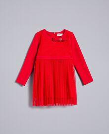 Kleid aus Plumetis-Tüll Rot Mohn Kind FA82QN-01