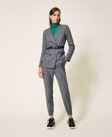 """Wool blend blazer Mottled Gray /""""Lurex"""" Silver Pin Stripe Woman 202TT2170-0T"""