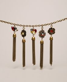 """Necklace with floral pendants and tassels """"Aged Coppery Brass"""" Gold Woman 201TA430M-02"""