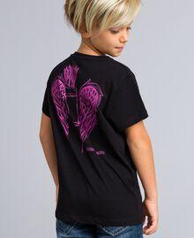 Unisex-T-Shirt für Kinder aus Baumwolle mit Print Schwarz Kind QA8TMP-06