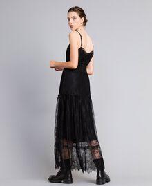 Robe longue en dentelle de Valenciennes multicolore Noir Femme PA82FP-03