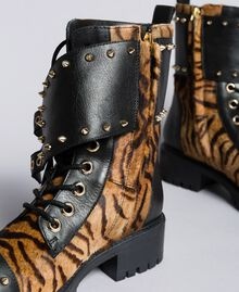 Leather combat boots with animal print inserts Tiger Print Woman CA8TEJ-02
