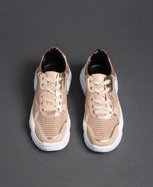 """Glitter fabric running shoes """"Pale Pink"""" Woman 192MCP070-05"""