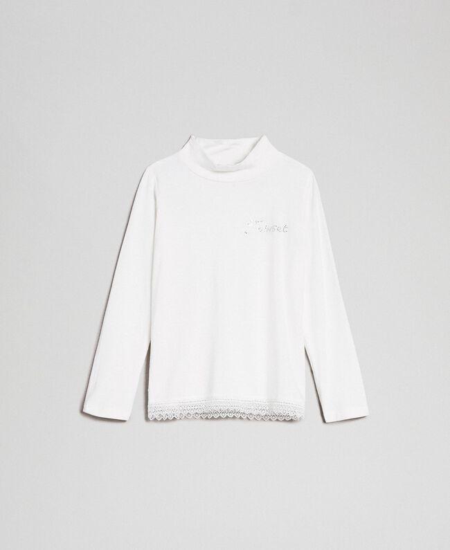 T-shirt en jersey avec dentelle Off White Enfant FCN2D1-01
