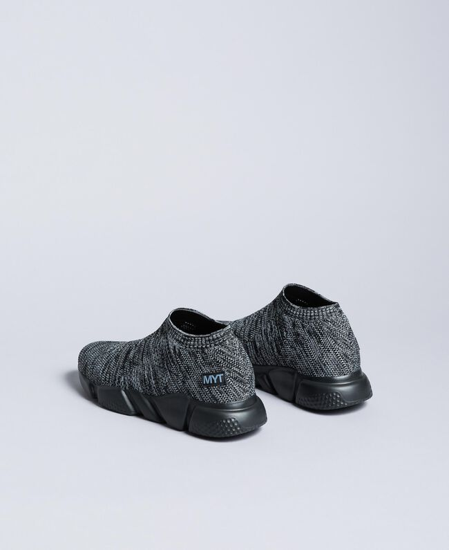 Knitted slip on sneakers Dark Gray Mélange Man UA8C91-04