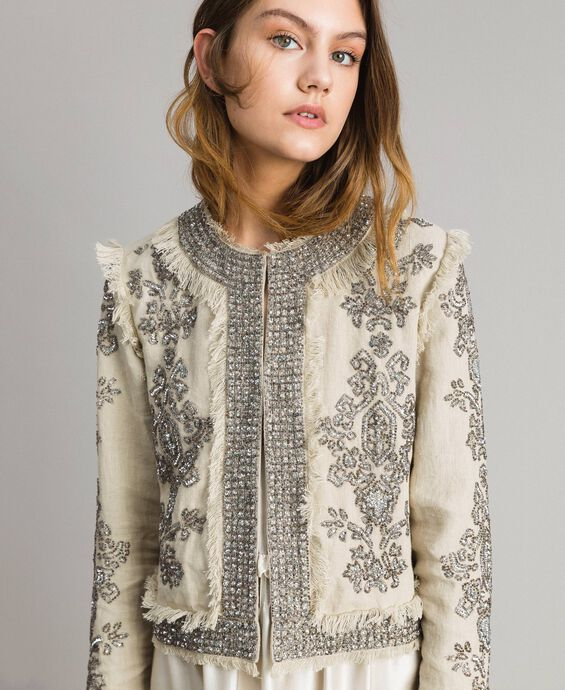 Linen jacket with beads and sequins