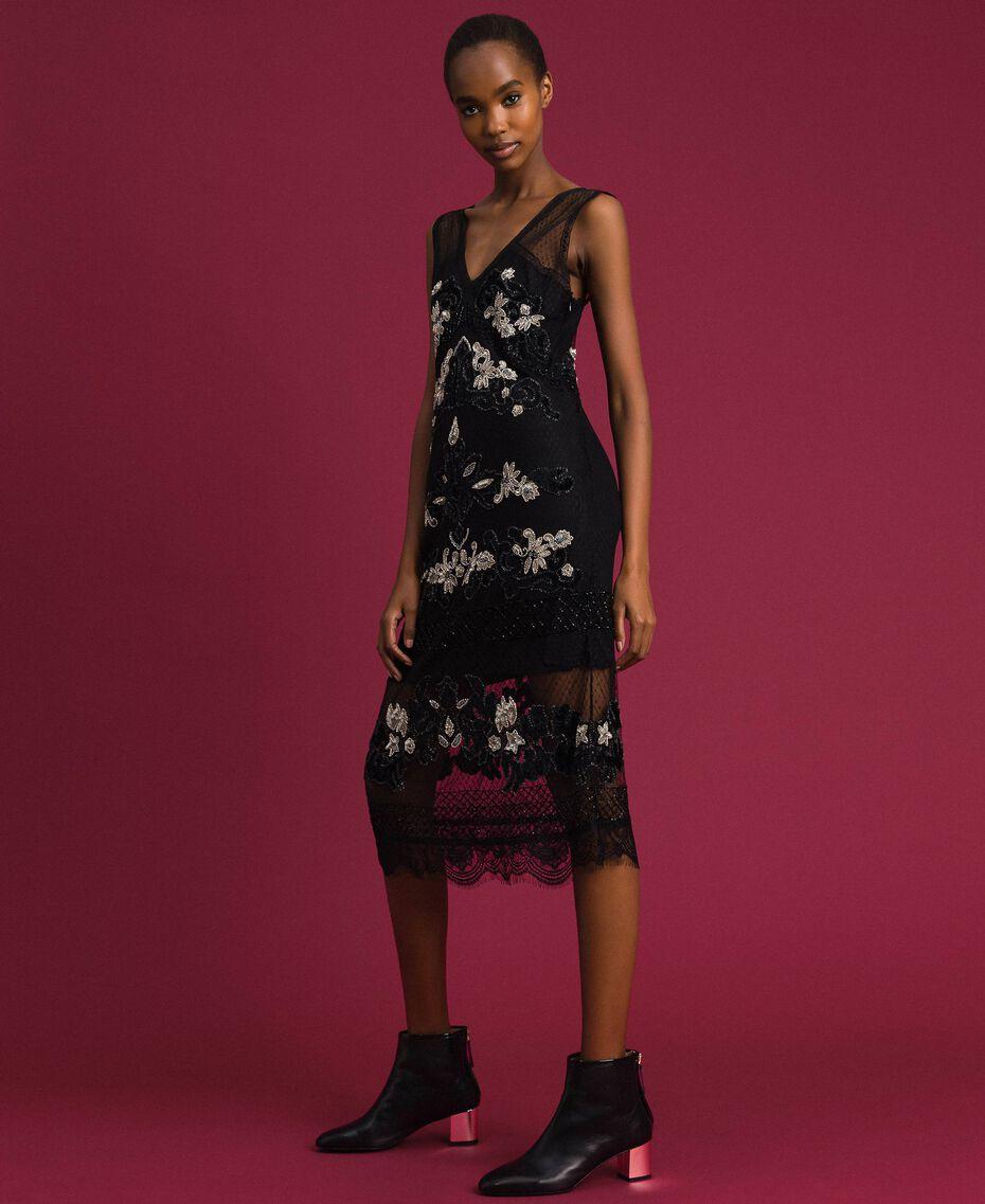 Robe en tulle plumetis avec broderie florale Noir Femme 192TT2042-02