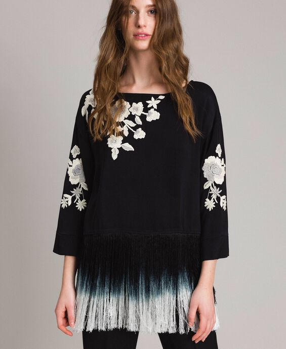 Floral embroidery and fringe blouse