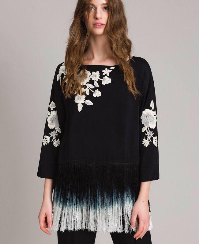Blouse avec broderies florales et franges Noir Femme 191TT2130-01