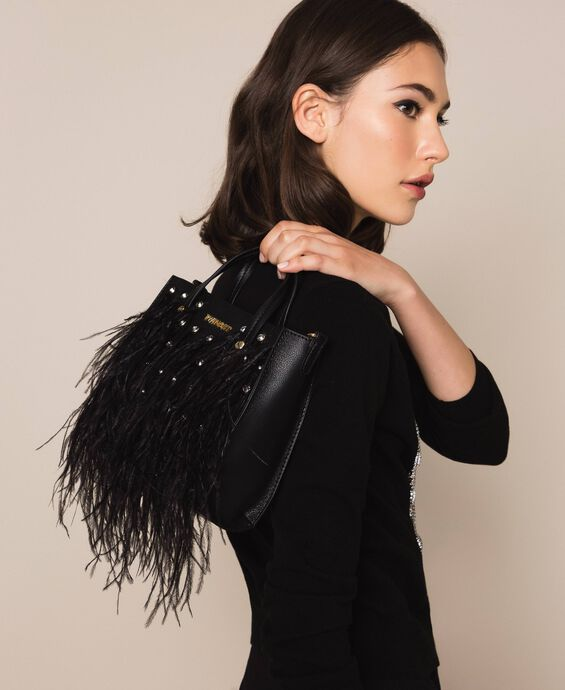 Shoulder bag with feathers and rhinestones