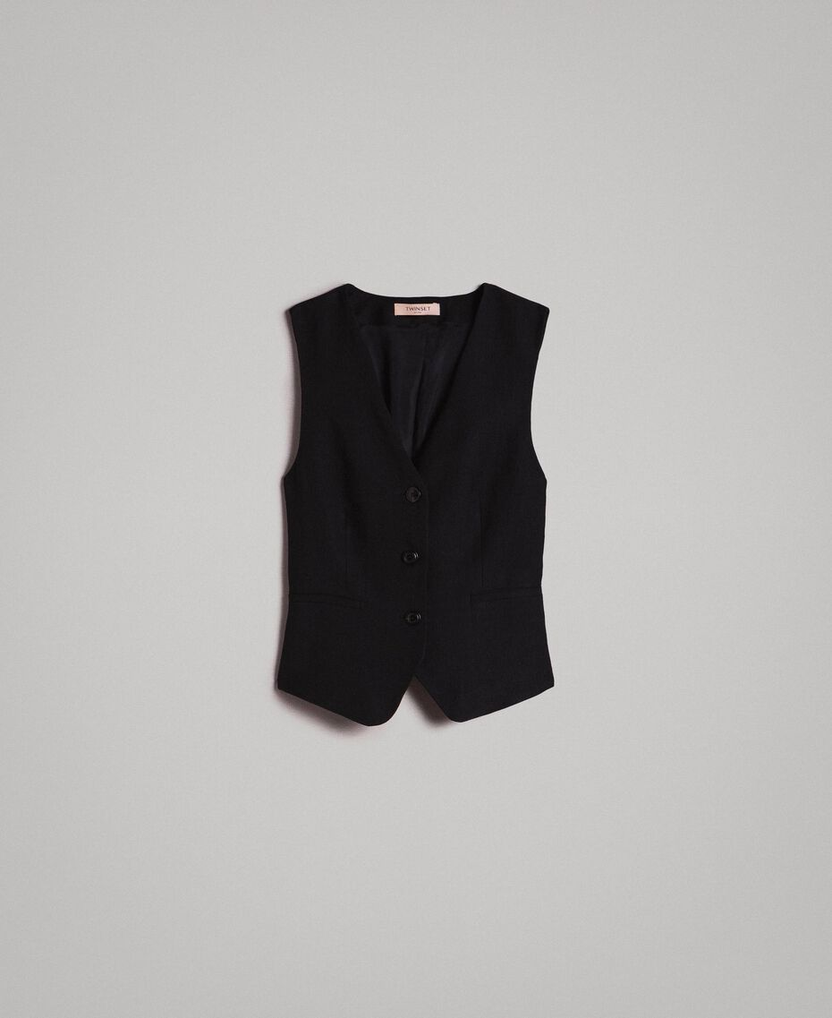 Natural canvas waistcoat Black Woman 191TT2294-0S
