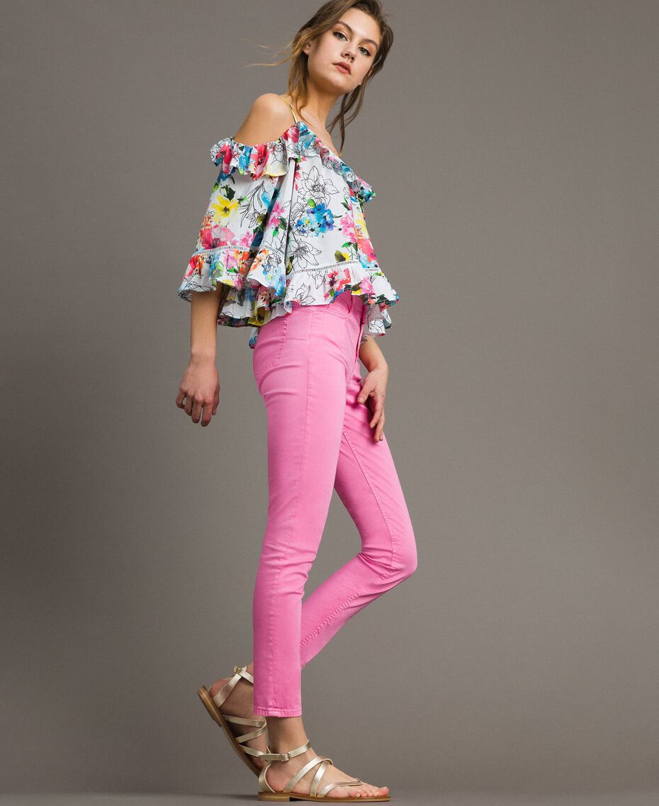 Skinny trousers with rhinestone heart Fluorescent Pink Woman 191MT2446-01