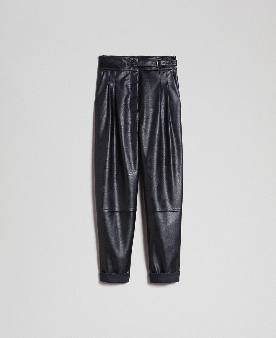 Pantaloni wide fit in similpelle Nero Donna 192TT203C-0S