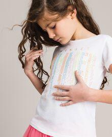 T-shirt en coton avec strass multicolores Blanc Enfant 191GJ2770-04