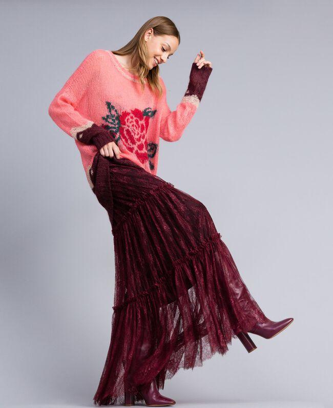 Valencienne lace long skirt Bordeaux Woman PA82FZ-01