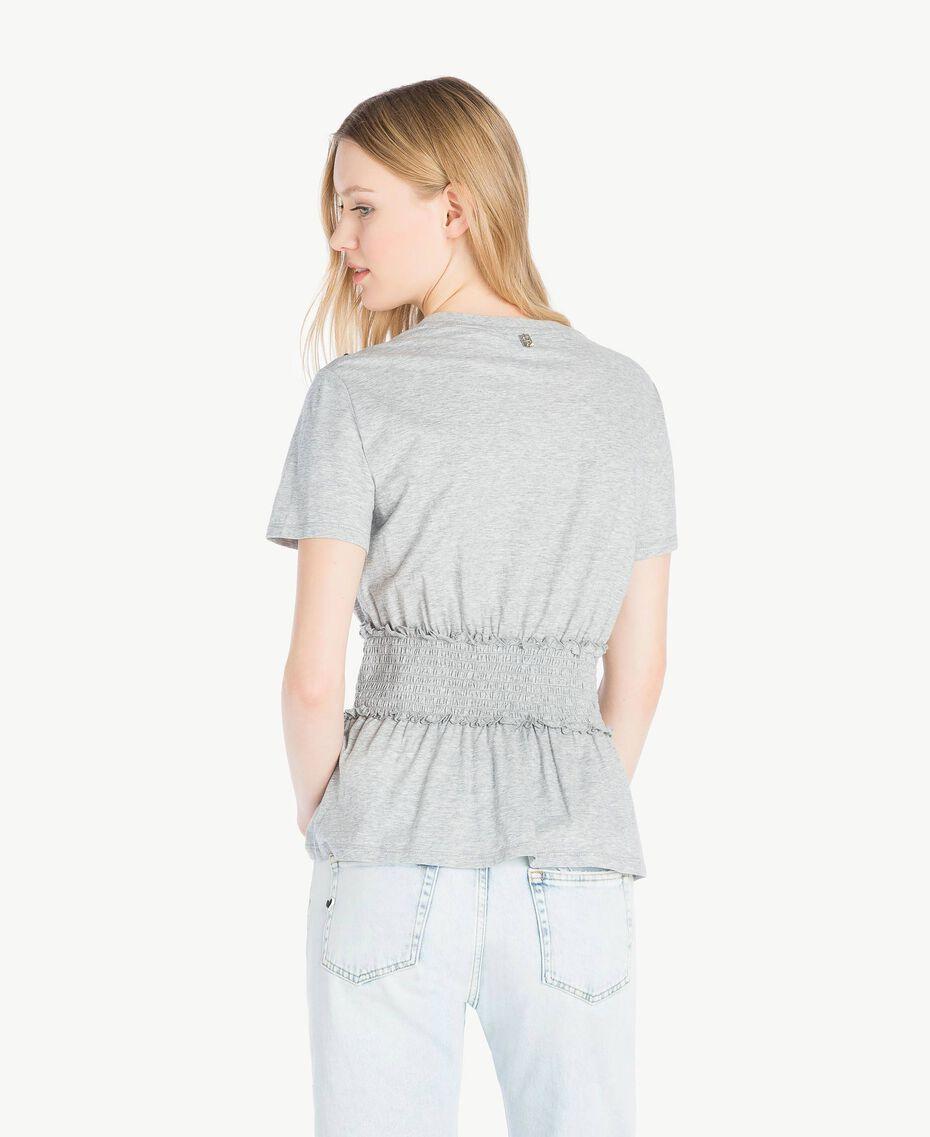 T-Shirt mit Pailletten Grau Melange Frau JS82RB-03