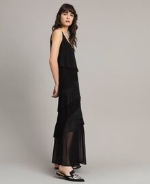 Long satin and chiffon dress with fringes Black Woman 191LM2BDD-02