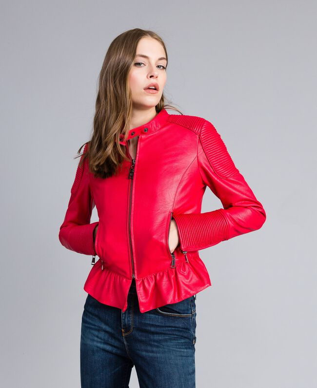 classic fit b8a26 c4ffa Giacca biker in similpelle Donna, Rosso | TWINSET Milano
