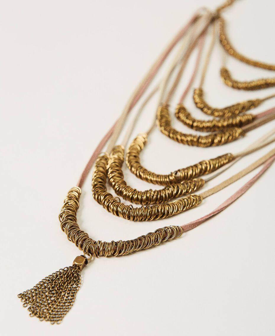 Collana multifilo con perline in metallo Multicolor Nastri Ottone Invecchiato Donna 211TO501G-03
