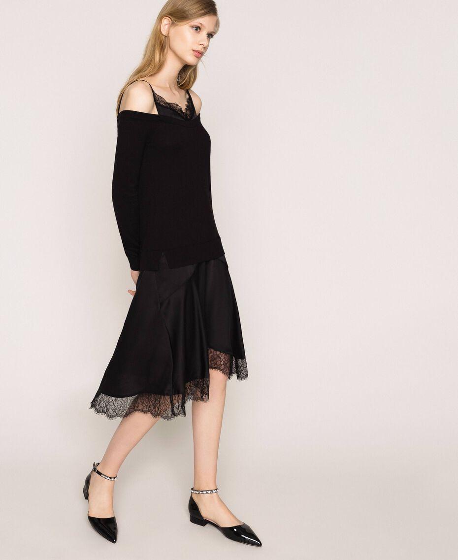 Robe en maille de satin style nuisette Noir Femme 201TP3070-02