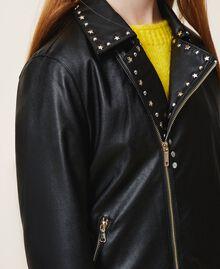 Куртка из искусственной кожи со звездочками Черный Pебенок 202GJ2830-05