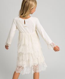 Chantilly lace dress with embroidered roses Pale Cream Child 192GJ2670-03