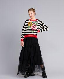 """Wool blend jumper """"Snow"""" White / Black Stripe Woman PA83HR-01"""