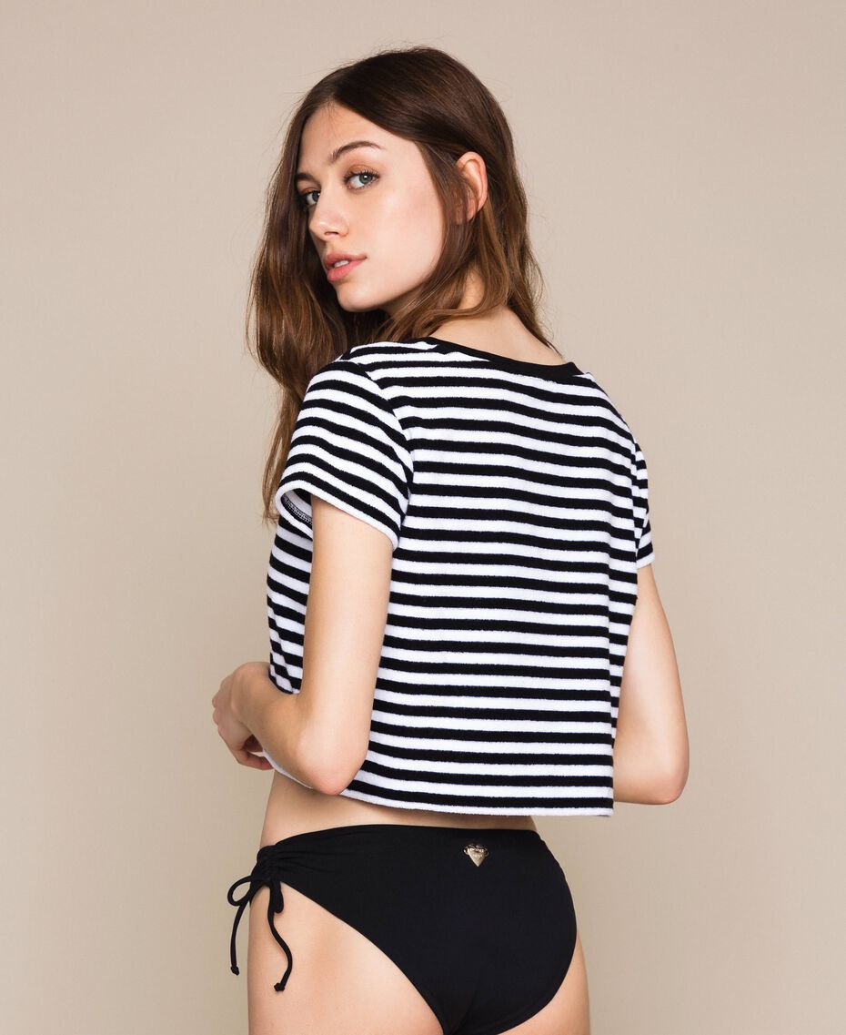 Striped terry cloth T-shirt with logo Two-tone Black / Optical White Woman 201LM2LSS-03