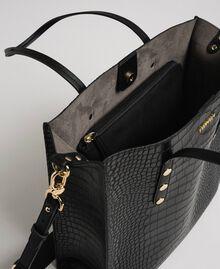 Crocodile print faux leather shopping bag Black Crocodile Print Woman 192TA7276-05