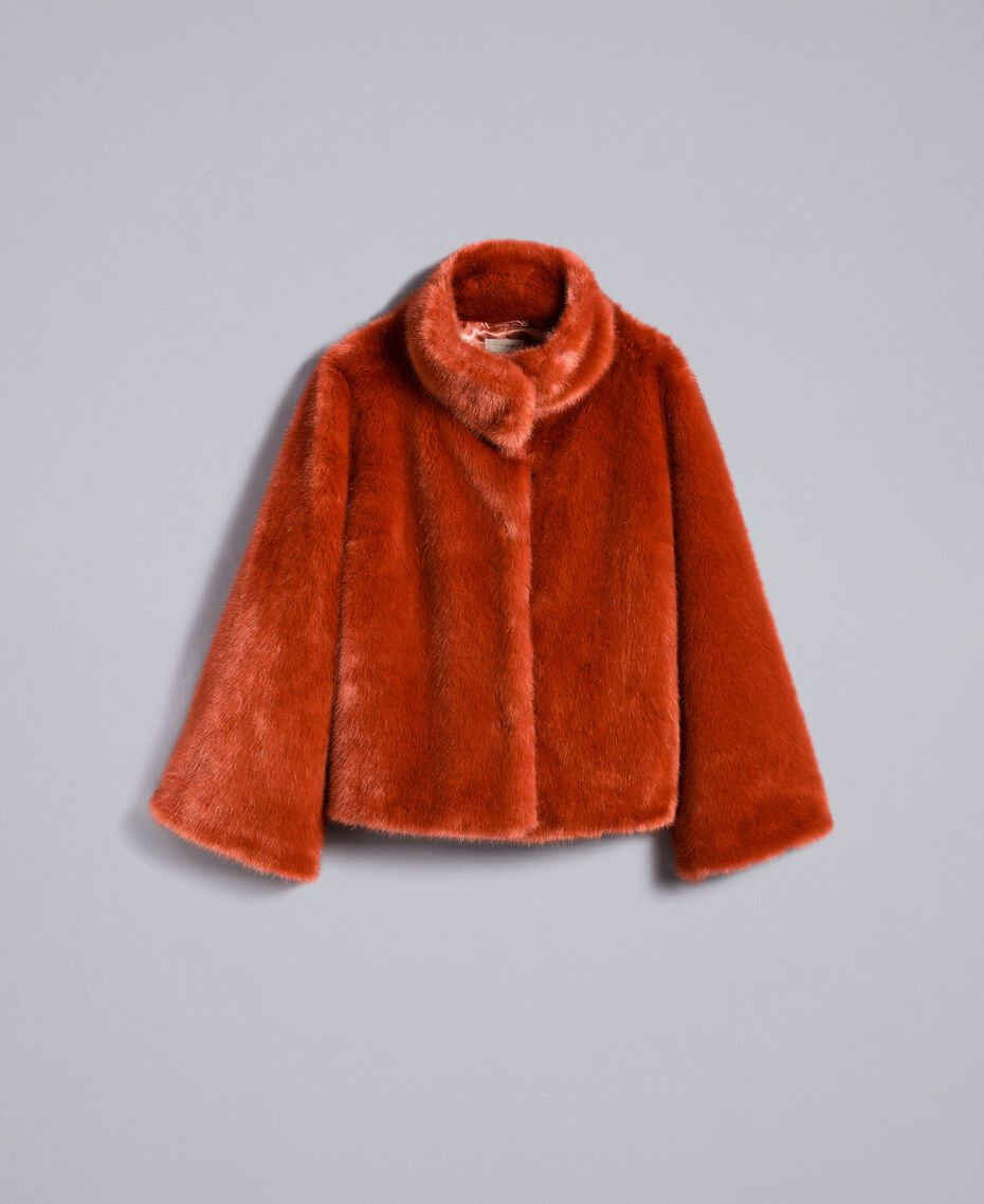 """Giacca corta in similpelliccia Rosso """"Redwood"""" Donna SA82BB-0S"""
