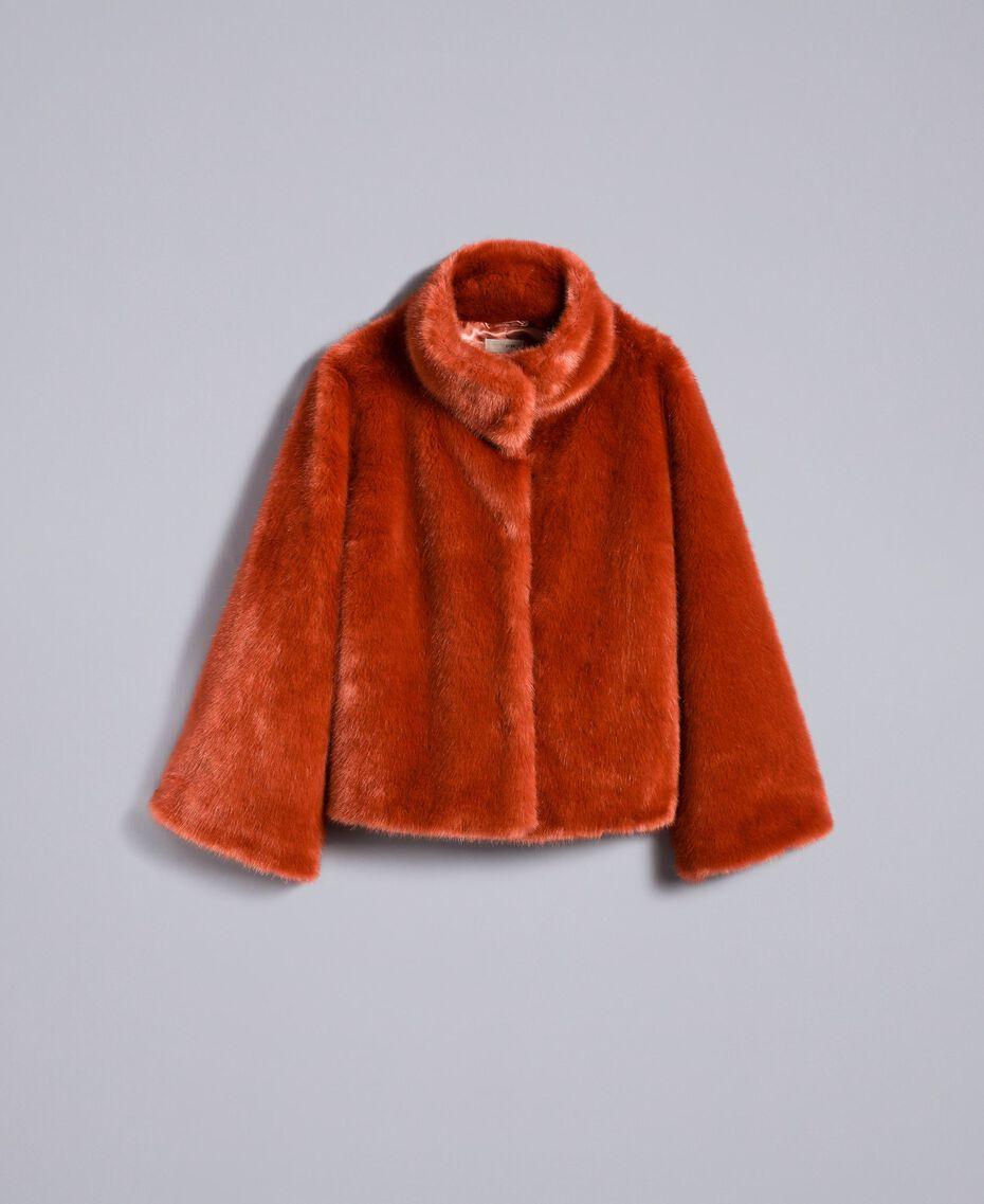 Kurzjacke aus Pelzimitat Redwood-Rot Frau SA82BB-0S