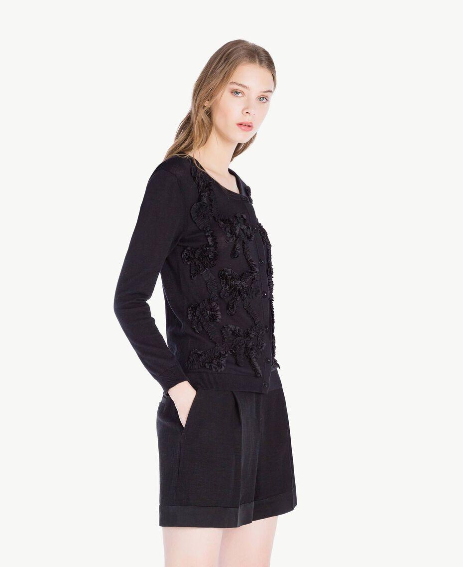 Mandarin collar top with bows Black Woman PS83XB-02