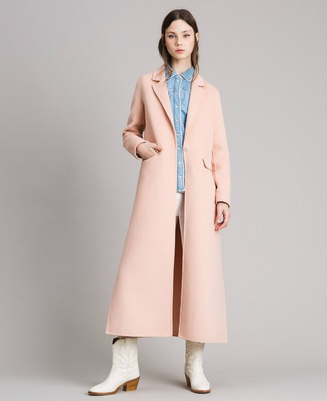 huge selection of 87554 c6357 Langer Mantel aus Doppelwolltuch Frau, Beige | TWINSET Milano