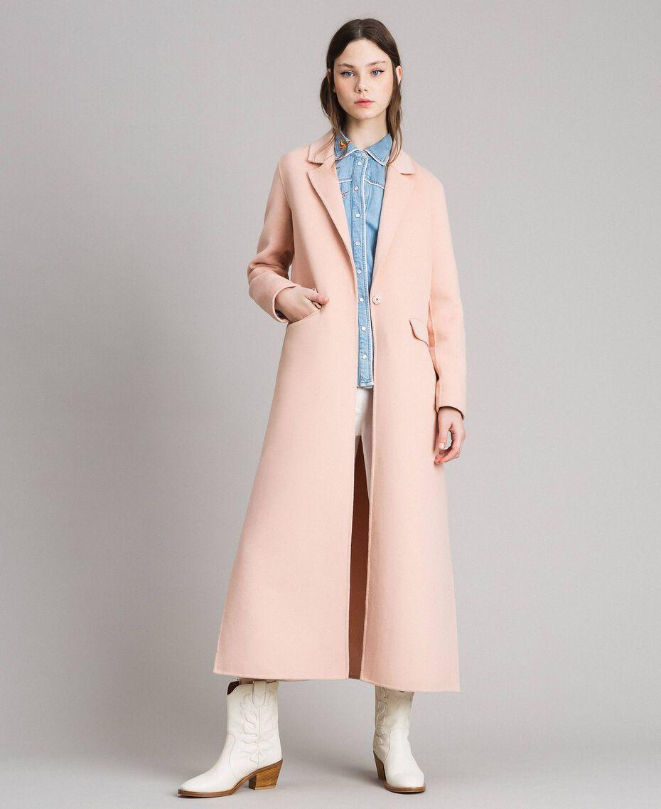 "Double wool cloth long coat ""Nude"" Beige Woman 191TP2480-02"