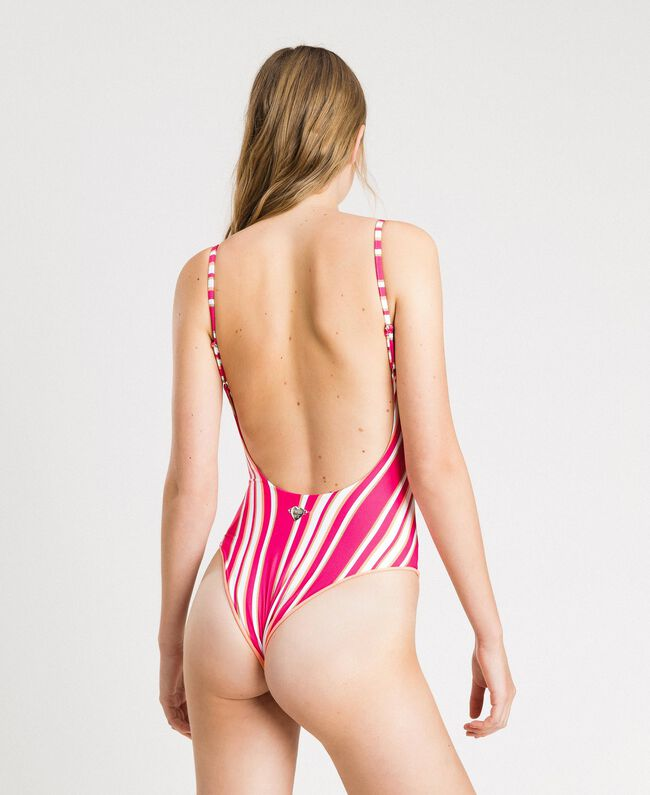 """Striped one-piece swimsuit with a logo Pink / """"Tangerine Cream"""" Pink Multicolour Striping Woman 191LBMAVV-03"""