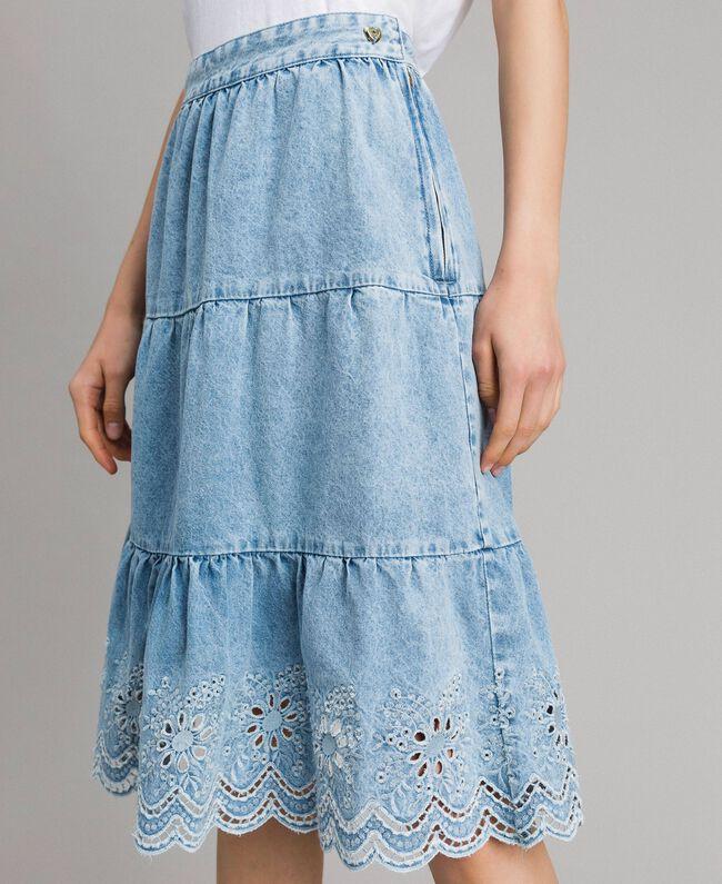 Mid-length skirt with broderie anglaise and flounces Denim Blue Woman 191MP2011-04