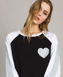 Robe bicolore en gabardine Bicolore Noir / Blanc Optique Femme 191LL25DD-04