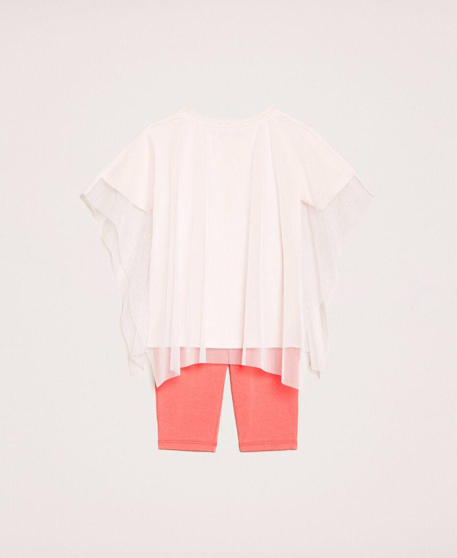Maxi t-shirt avec tulle et legging Imprimé Cacaotès Rose Clair / Rouge «Calypso Coral» Enfant 201GB2312-0S